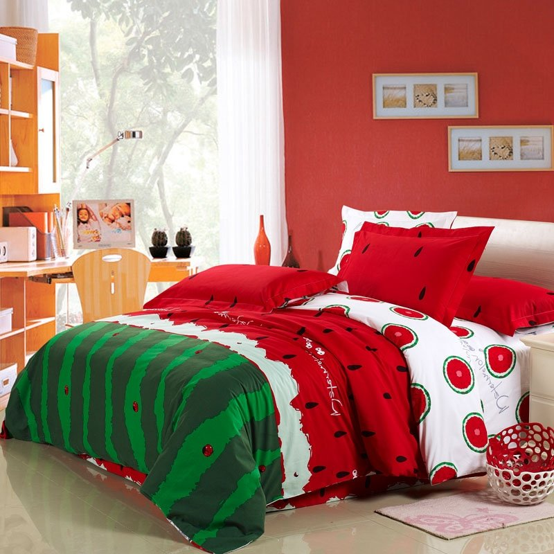 Red Green and White Watermelon Print Polka Dot Unique and Novelty Soft Durable Girls and Boys Twin, Full, Queen Size Bedding Sets
