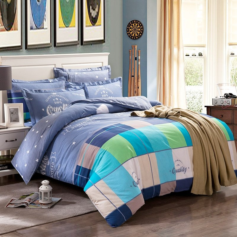 Sky Blue Turquoise and White Checkered Plaid and Star Print Vogue Simply Chic 100% Cotton Girls and Boys Full, Queen Size Bedding Sets