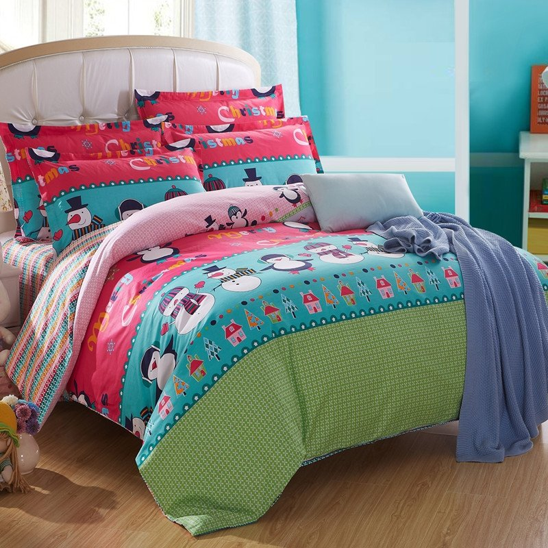 Turquoise Red and Paris Green Colorful Happy Christmas Snowman Print Chic and Cute Cartoon Children Twin, Full Size Bedding Sets