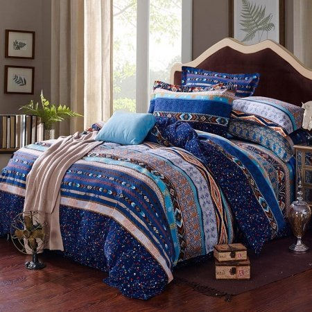 Egyptian Blue, White and Yellow Stripe and Bohemian Tribal Print Full Size Unique Adults Bedding Sets