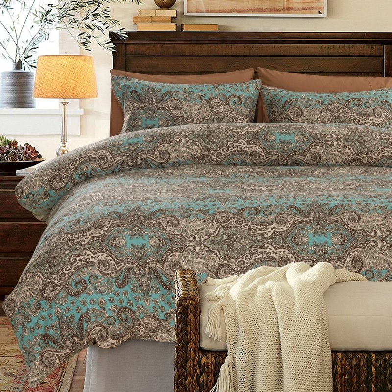 Turquoise Brown and Khaki Classic Baroque Style Shabby Chic Paisley Print Southwestern Style 100% Egyptian Cotton Full, Queen Size Bedding Sets