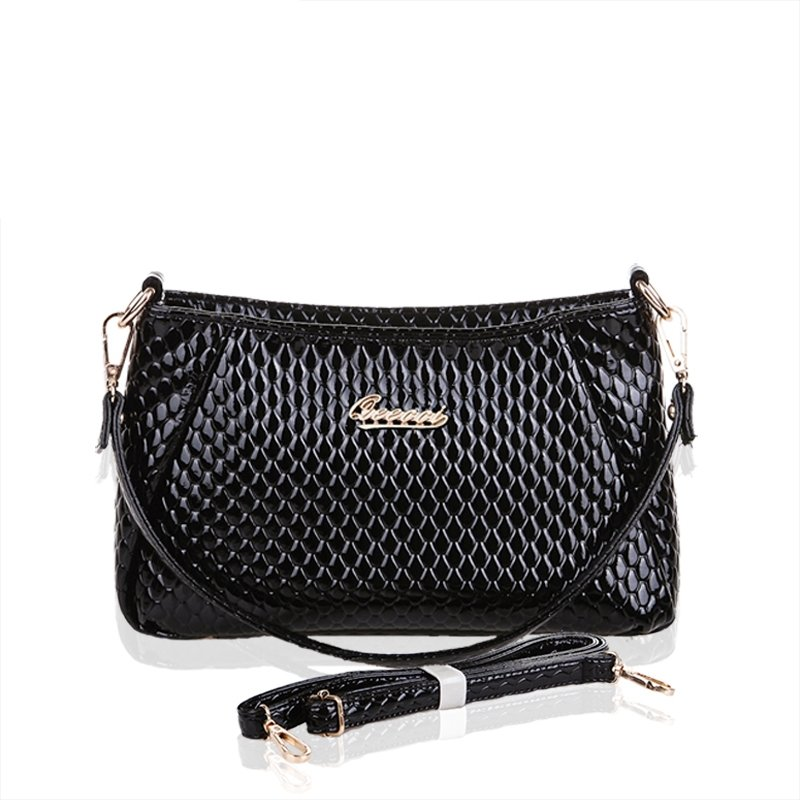 Plain Black Patent Leather Small Rome Baguette Bag Embossed Snake Serpentine Tote Fine Casual Party Crossbody Shoulder Purse