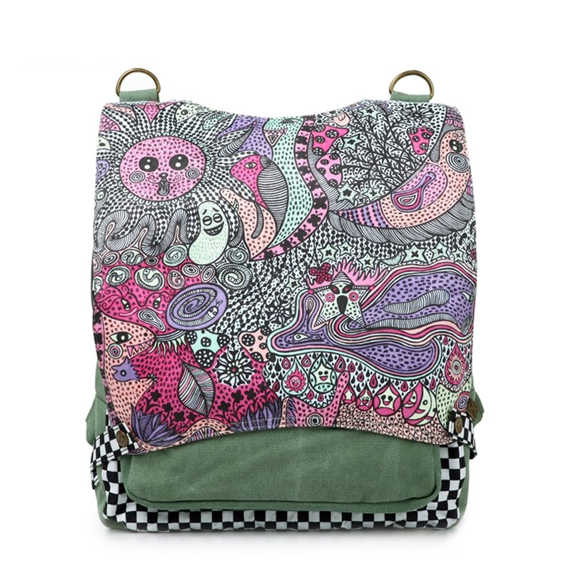 Sea Green Black and Purple Durable Girls Canvas Backpack Bohemian Moroccan Style Personalized Cartoon Checkered and Sun Print Travel Bag