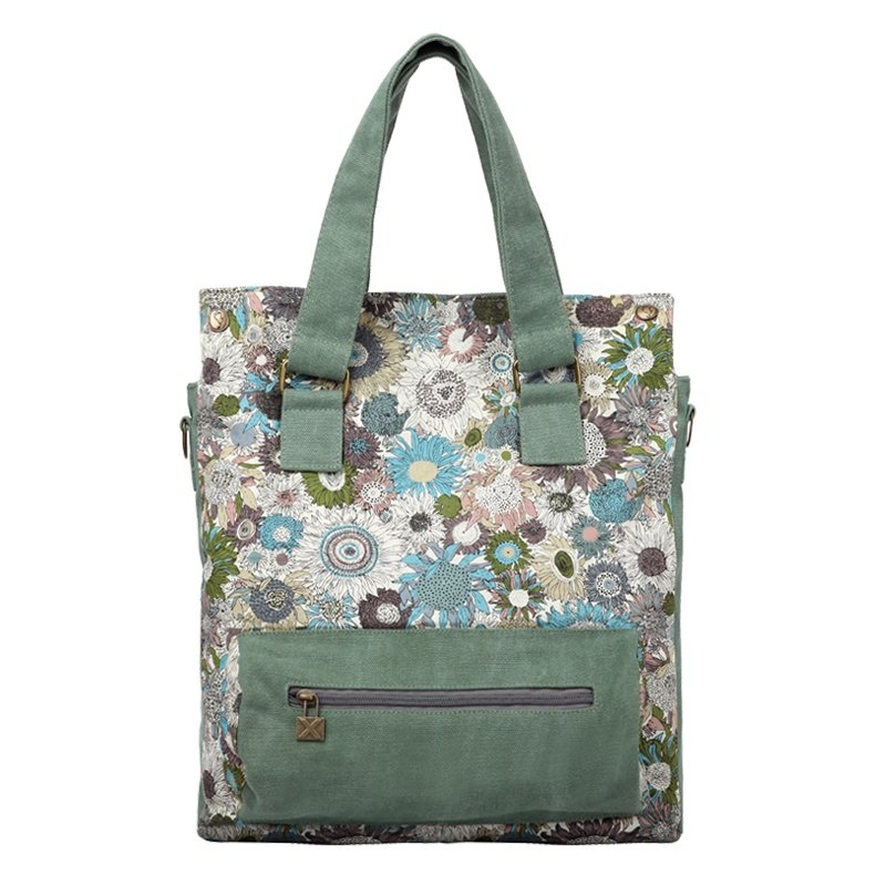 Viridian Green White and Lavender Purple Abstract Chrysanthemum Flower Print National Style Casual Canvas Women Purse Medium Tote Bag