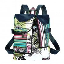 White Black Red and Green Jean Multi-color Stripe Asian Lily Print Lock Teen Girls Medium Satchel Casual Travel Backpack Bucket School Bag