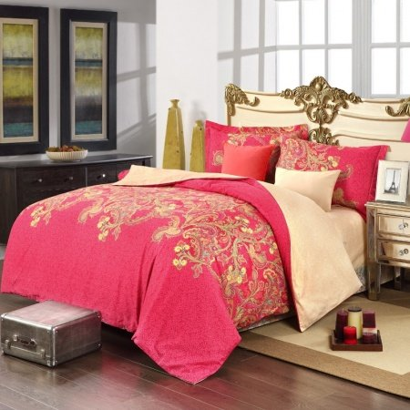 Pinkish Red Gold and Beige Luxury Tribal Paisley Print Exotic Abstract Design 100% Cotton Satin Full Size Bedding Sets