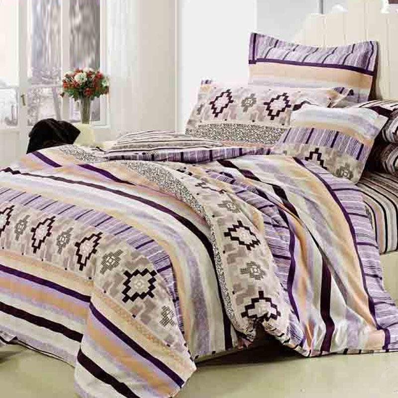 Lilac Beige and Brown Moorish Pattern Geometric and Stripe Print Abstract Design Retro style 100% Cotton Damask Full, Queen Size Bedding Sets
