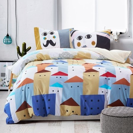 Orange Blue Brown and White Bright Colorful City Chic Fashion Cartoon Abstract Design Unique Girls and Boys 100% Cotton Damask Bedding Sets