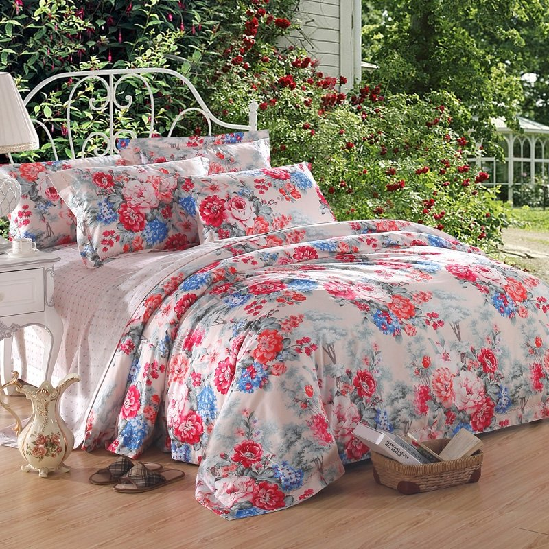 Pale Pink Poppy Red and Blue Spring Scene Flower Print Asian Inspired Oriental Style Luxury 100% Egyptian Cotton Full, Queen Size Bedding Sets