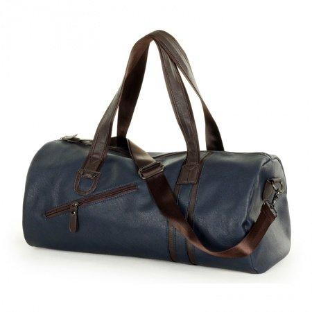 Oversized Dark Blue PU Leather Casual Sport Travel Tote Mitoshop Crossbody Bag Zipper Embossed Design Sewing Pattern Men Single Shoulder Bag