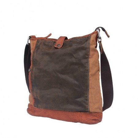 Coffee and Fawn Brown Canvas Washable Retro Crossbody Bag Trendy Casual Korean Style Color Blocking Zipper Hasp Men Medium One Shoulder Bag