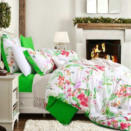 Green Red and White Bright Colorful Flower Country Chic Southwestern Garden Style 3D Design 100% Cotton Damask Full, Queen Size Bedding Sets