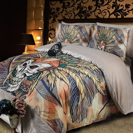 Yellow Orange and Navy Skull Print and Feather Hipster Style Abstract Design Personalized Flannel Full, Queen Size Bedding Sets