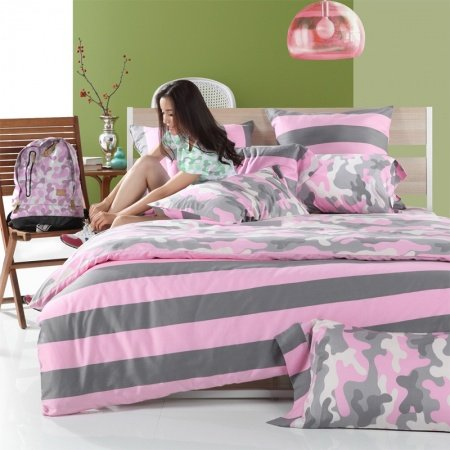 Gray Pink and White Camouflage Pattern with Wide Ticking Stripe Full, Queen Size Girls Bedroom 100% Cotton Bedding Sets