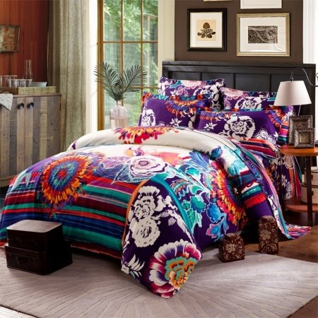 Eggplant Purple Turquoise and Rust Orange Trippy Bohemian Style Exotic Abstract Design 100% Brushed Cotton Full, Queen Size Bedding Sets