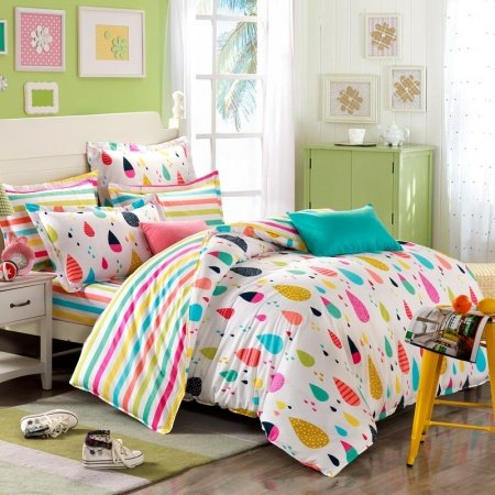 Orange Blue and Red Colorful Rain Drop with Rainbow Stripe Sheet Pastel Style Personalized 100% Cotton Toile Twin, Full Size Bedding Sets