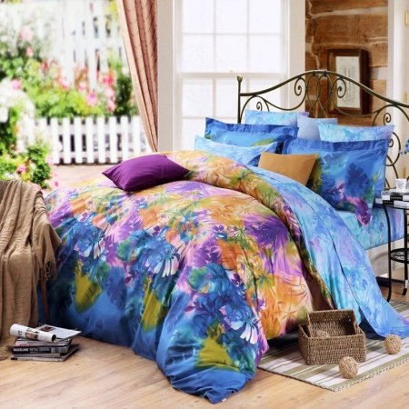 Ice Blue Orange and Purple Colorful Tropical Rainforest Scene Rustic Style Natural Luxury 100% Cotton Damask Full, Queen Size Bedding Sets