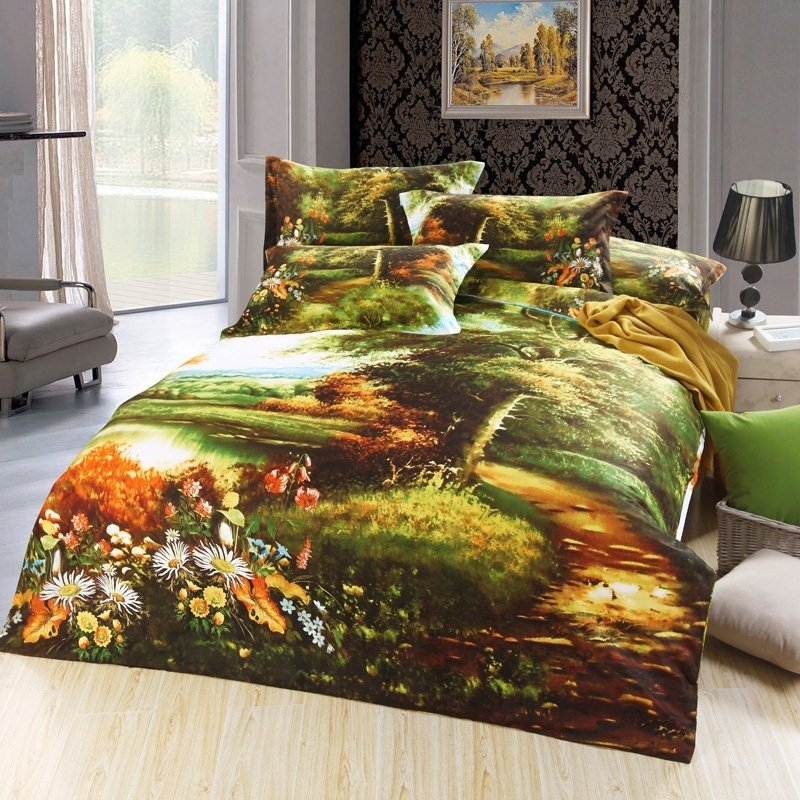 Forest Green and Burnt Orange Lake Print Rainforest Scene Rustic Style Jungle Themed Natural 100% Cotton Damask Twin, Full Size Bedding Sets