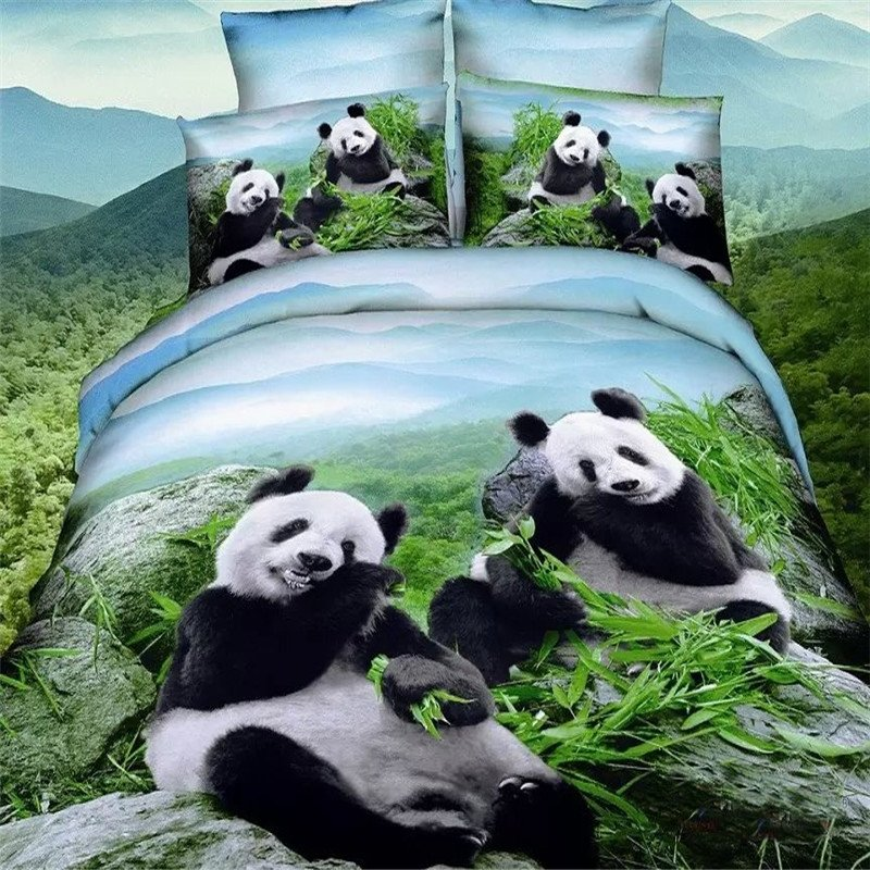 Hunter Green and Sky Blue 3D Forest Scene with Black and White Panda Print Jungle Animal Kids 100% Cotton Twin, Full Size Bedding Sets