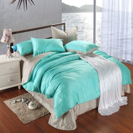 Bright Turquoise Silver Plain Colored Simply Chic Noble Excellence Luxury Unique Color Block 100% Tencel Full, Queen Size Bedding Sets