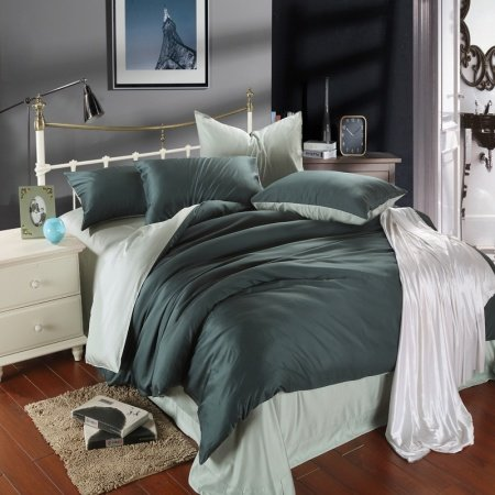 Solid Dark Green and Light Green Plain Colored Color Block Simply Chic Luxury Unique Adult 100% Tencel Full, Queen Size Bedding Sets