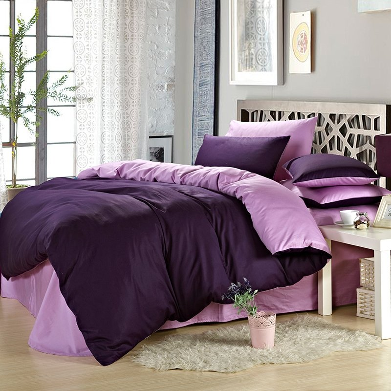 Deep Purple and Light Purple Plain Color Traditional Classic Simply Chic All Cotton Microfiber Percale Fabric Full, Queen Size Bedding Sets