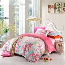 Coral Red Light Pink and Aqua Floral and Leaf Pattern Abstract Design Country Chic 100% Organic Cotton Twin, Full, Queen Size Bedding Sets