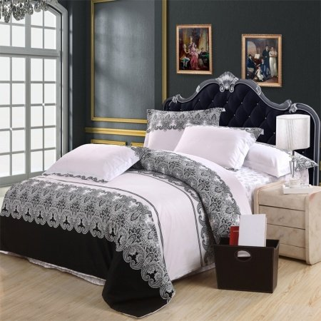 Black White and Grey Western Paisley Park Tribal Print Vintage BOHO Style 100% Cotton Damask Full, Queen Size Bedding Sets