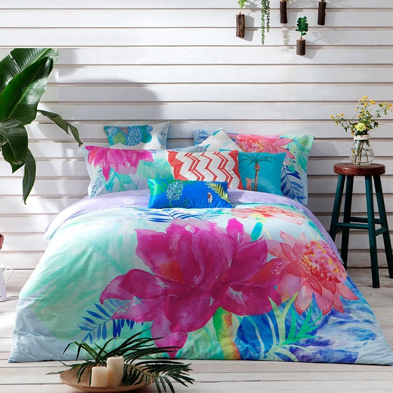 Magenta Turquoise and Blue Watercolor Flower Print Tropical Country Chic Natural Luxury 100% Cotton Damask Full, Queen Size Bedding Sets