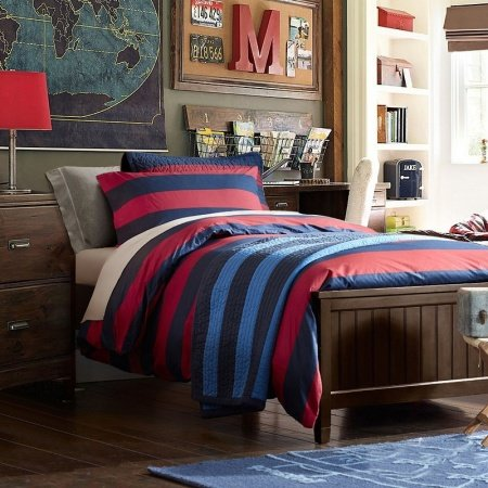 Raspberry Red and Deep Blue Modern Boys Rugby Stripe Print Traditional Simply Chic 100% Cotton Damask Full, Queen Size Bedding Sets