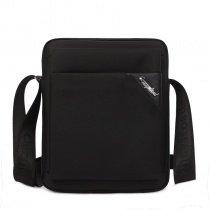 Solid Black Oxford Simply Chic Box-Shaped Crossbody Shoulder Bag Vogue Mitoshop Business Sewing Pattern Men Messenger Bag