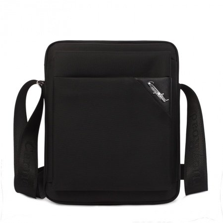 Solid Black Oxford Simply Chic Box-Shaped Crossbody Shoulder Bag Vogue Mitoshop Business Sewing Pattern Men Messenger Bag
