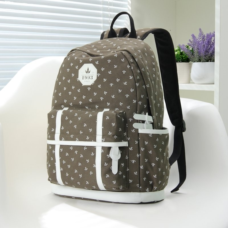 Coffee Brown Canvas with White Leather Cute Girls School Backpack Anchor Printed Sewing Pattern Elegant Vogue Women Travel Bag