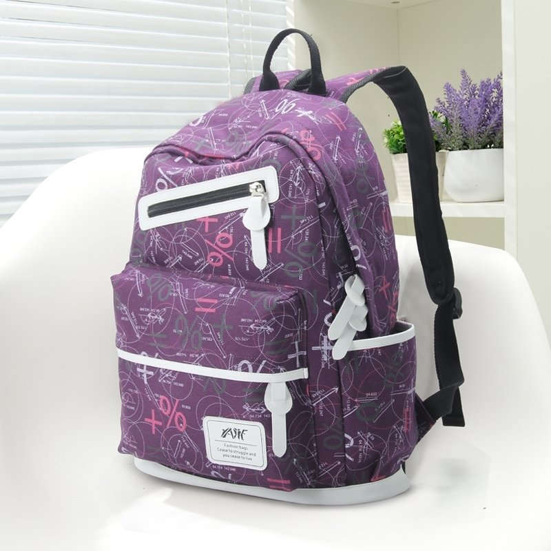 Violet Purple Canvas with White Leather Trim Personalized Mathematical Notation School Backpack Cute Sewing Pattern Travel Bag