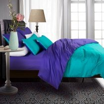 Girls Teal and Violet Plain Colored Simply Chic Modern Luxurious 800 Thread Count 100% Egyptian Cotton Full, Queen Size Bedding Sets