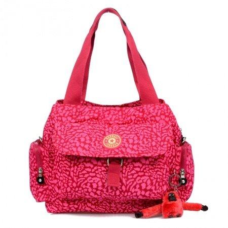 Solid Hot Pink Personalized Leopard Print Dumpling-shaped Flap Bag Lightweight Water-proof Nylon Lady Crossbody Shoulder Purse