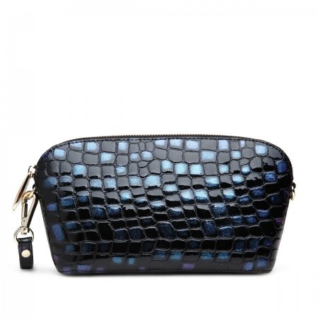 Aqua Blue and Black Embossed Crocodile Cowhide Leather Lady Evening Clutch Sea Shell Bag Casual Party Collarbone Chain Handle Bag
