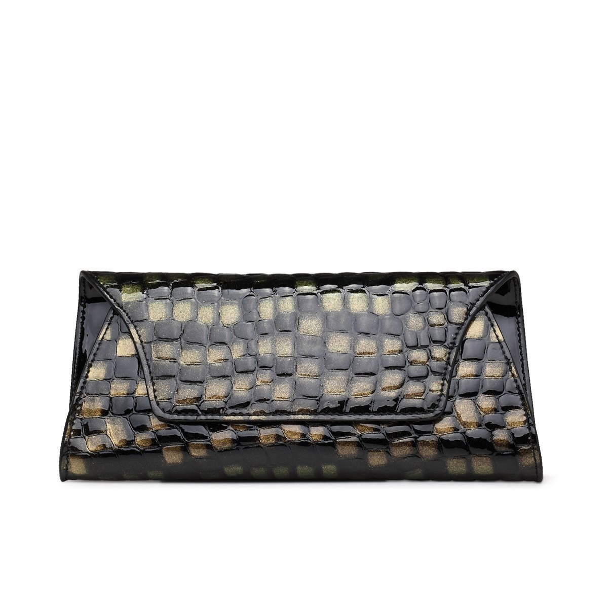 Bronze Black Cowhide Genuine Leather Embossed Crocodile Envelope Evening Clutch Luxury Expensive Casual Party Women Small Flap Bag
