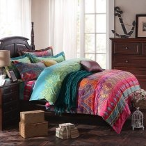 Raspberry Red Orange and Turquoise Indian Pattern Vintage Bohemian Chic Western Style 100% Brushed Cotton Full, Queen Size Bedding Sets