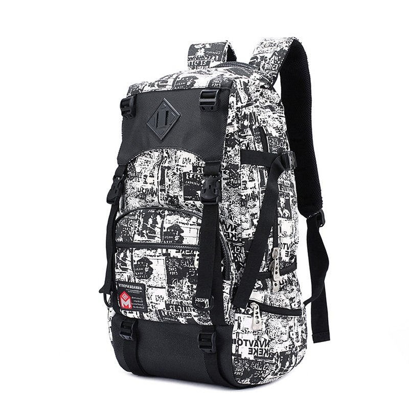 Oversized Black White Trendy Graffiti Print Men Travel Backpack Durable Canvas Korean Style Multiple Utility Pockets School Bag