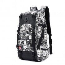 Oversized Black White Trendy Graffiti Print Men Travel Backpack Durable Canvas Korean Style Multiple Utility Pockets School Bag