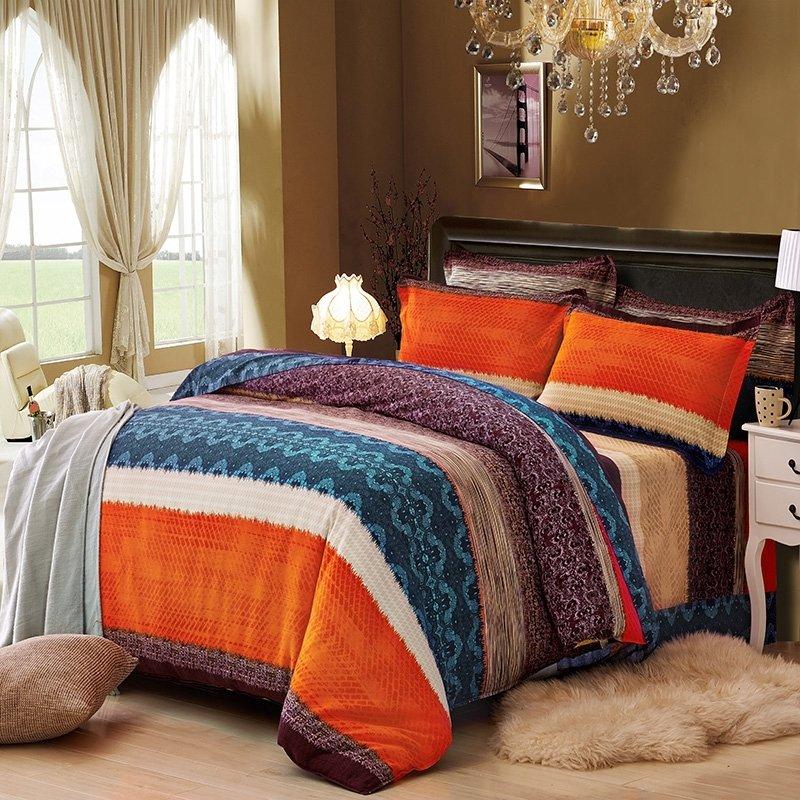 Boys Brown And Orange Bedding: Orange Brown And Dark Teal Wide Stripe Print Shabby Chic