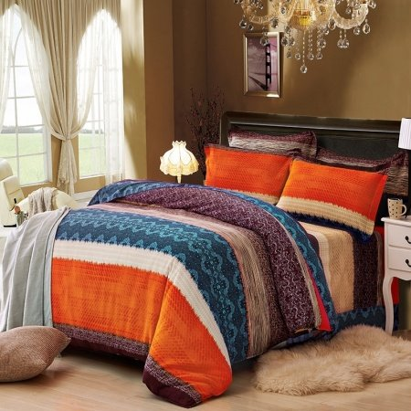 Orange Brown and Dark Teal Wide Stripe Print Shabby Chic Exotic Western Style 100% Brushed Cotton Full, Queen Size Bedding Sets