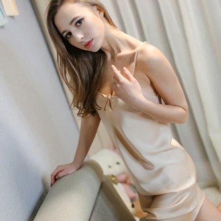 Champagne Princess Elegant Cute Women Girls Lady Halter Top V-neck Spaghetti Strap Skirt Condole Belt Sleeveless M L XL XXL Pajamas