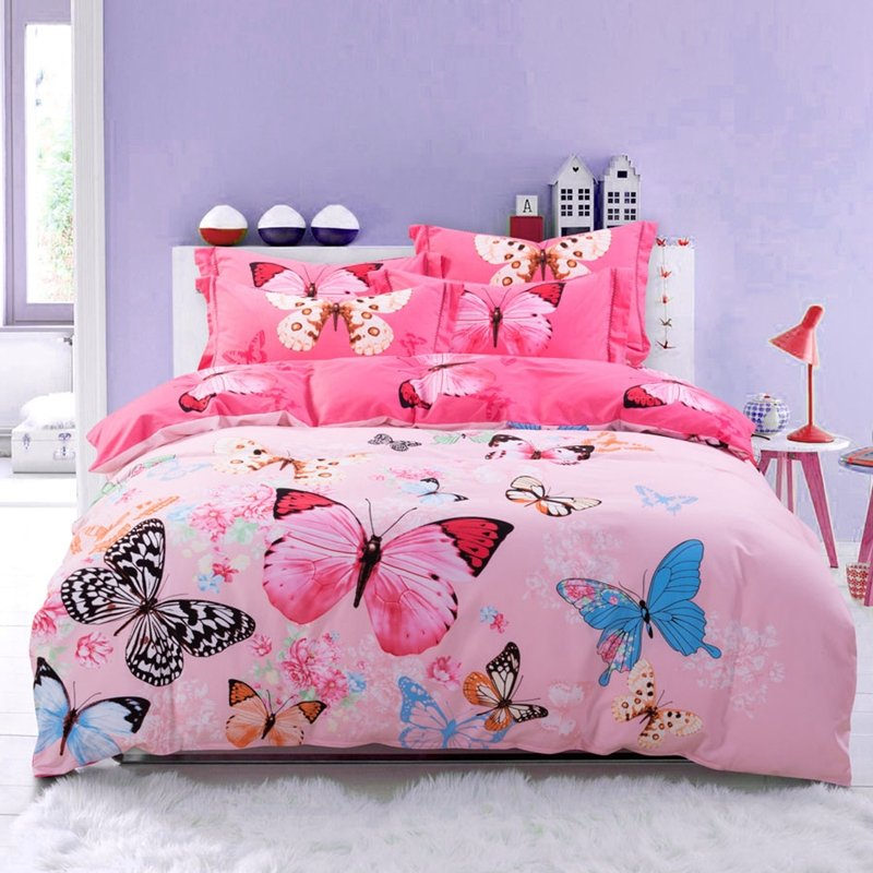 Hot Pink Blue and Black Butterfly Bedroom Ideas for Girls Pastel ...