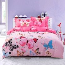 Hot Pink Blue and Black Butterfly Bedroom Ideas for Girls Pastel Style 100% Brushed Cotton Full, Queen Size Bedding Sets