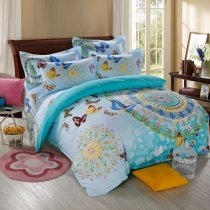 Turquoise Orange and Blue Kids Butterfly Print Bohemian Style Circle Print Indian Pattern 100% Cotton Twin, Full Size Bedding Sets