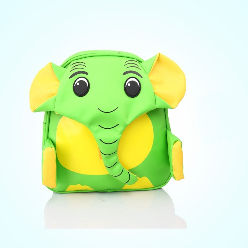 Personalized Animal Elephant-shaped Toddler School Backpack Durable Green Yellow Faux Leather and Nylon Vogue Kids Book Bag