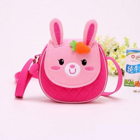 Personalized Cute Animal Rabbit Face-shaped Girls School Book Bag Durable Sewing Pattern Small Diamond Flap Crossbody Shoulder Bag
