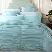 Tiffany Blue Seersucker Pattern Princess Style Feminine Feel Modern Chic Luxury 100% Cotton Full, Queen Size Bedding Sets